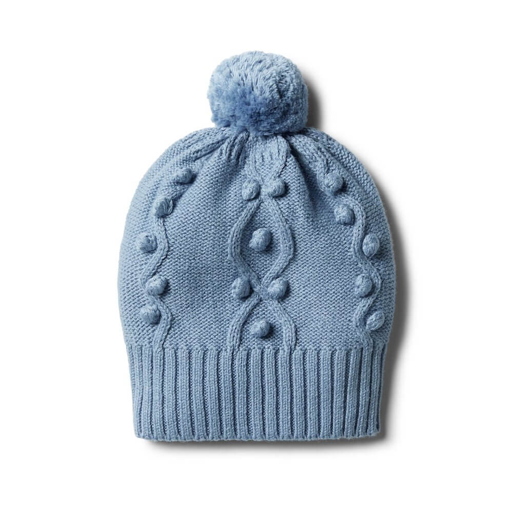 Faded Denim Knitted Hat With Baubes