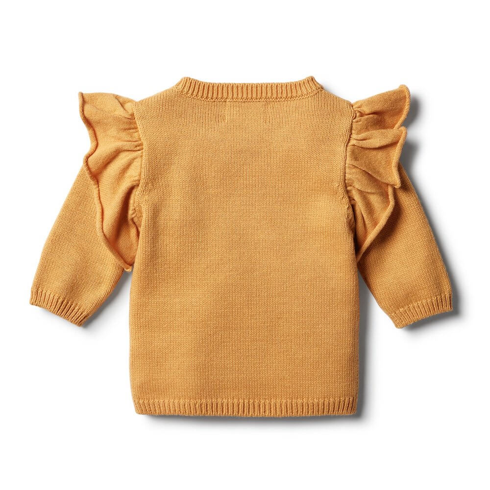 Wilson & Frenchy Golden Apricot Knitted Ruffle Jumper | Tiny People