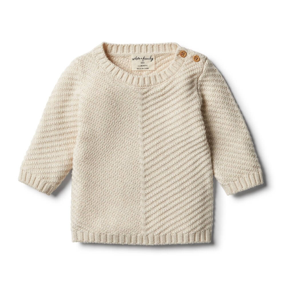 Wilson & Frenchy Oatmeal Knitted Chevron Jumper | Tiny People
