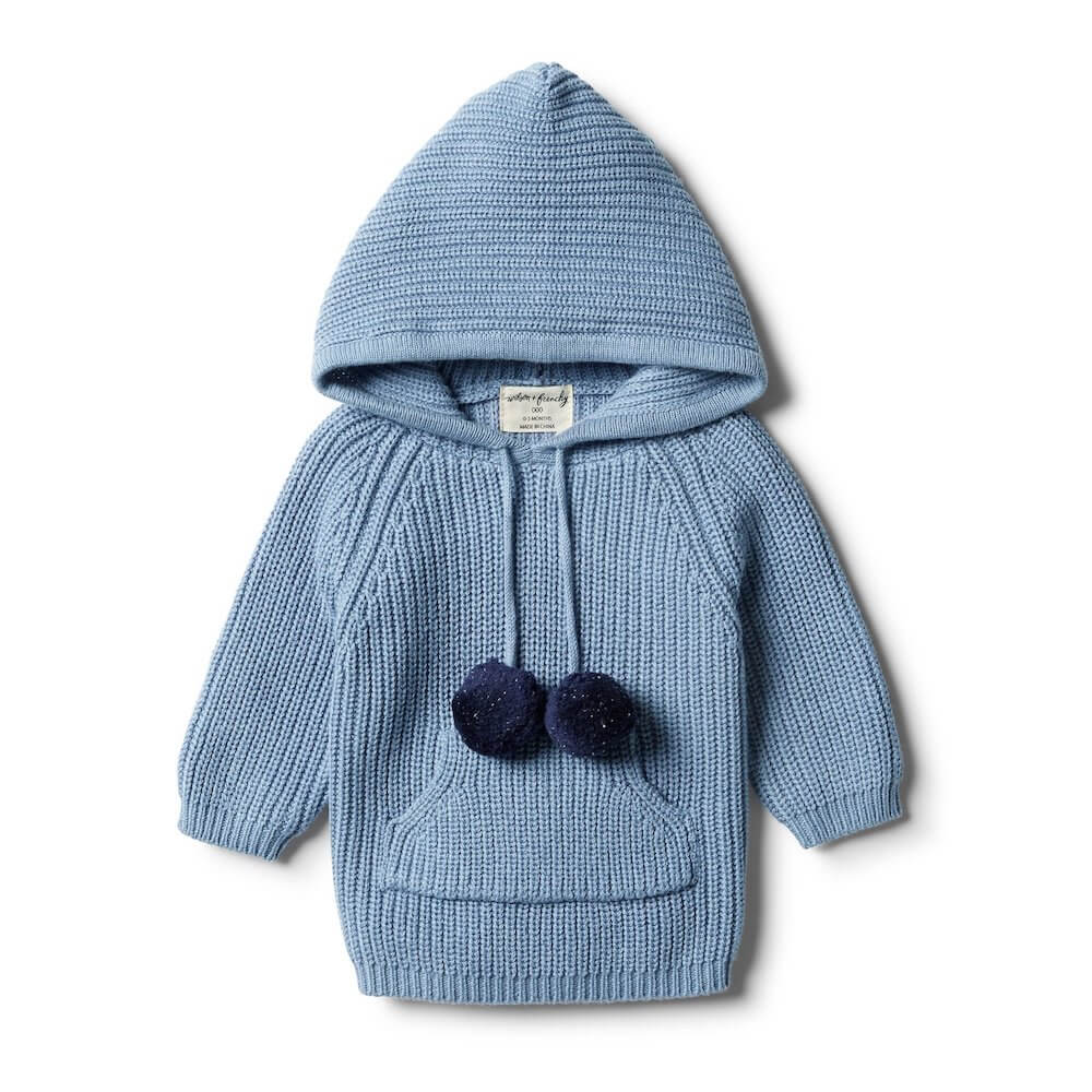 Wilson & Frenchy Faded Denim Rib Knitted Hoodie | Tiny People
