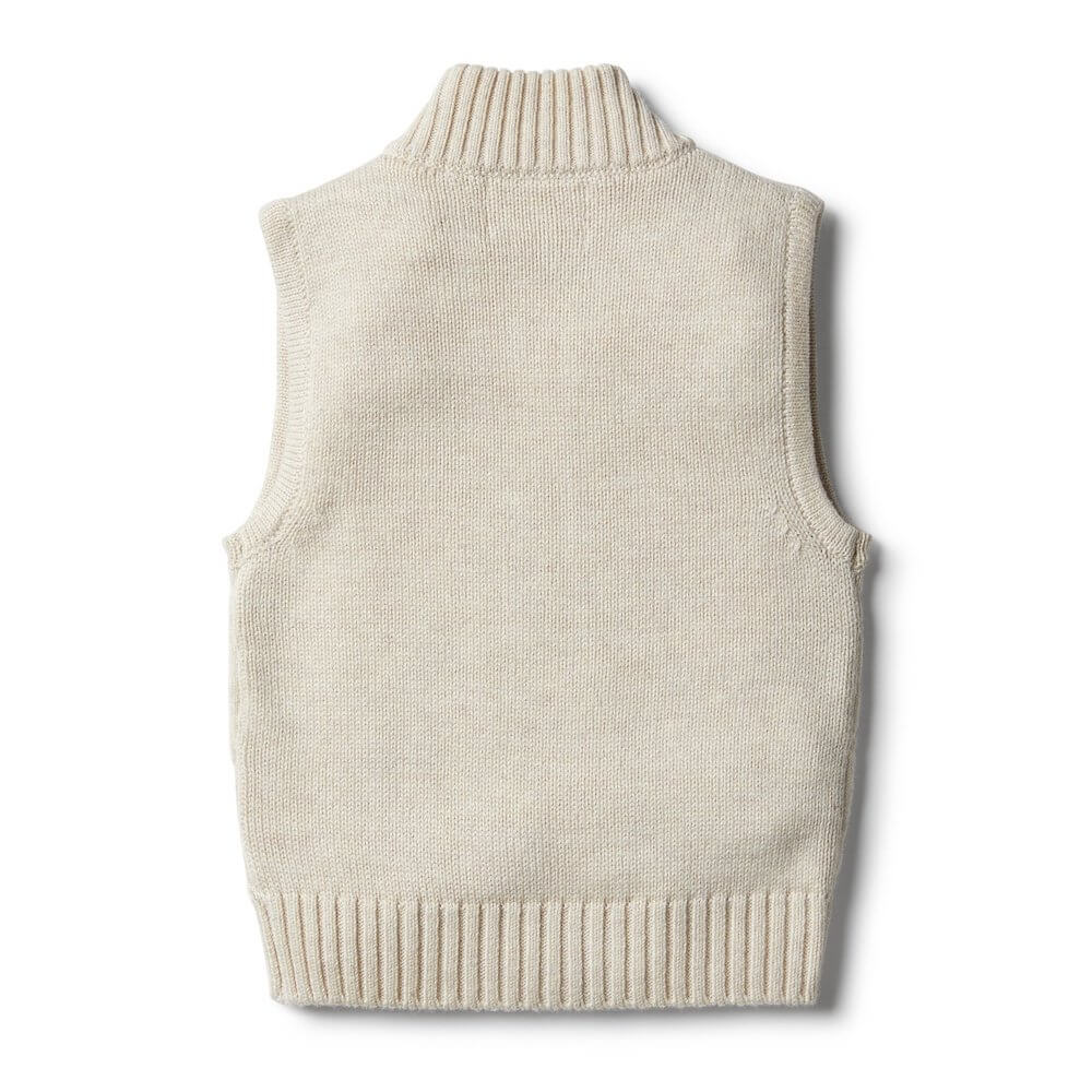 Wilson & Frenchy Oatmeal Knitted Vest | Tiny People
