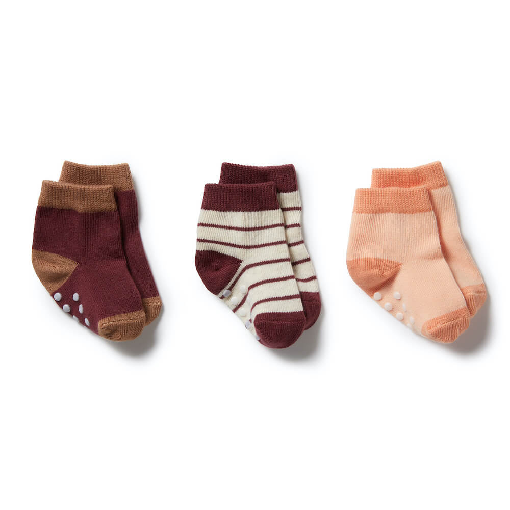 Wilson & Frenchy Flamingo, Wild Ginger, Burro 3 Pack Baby Socks | Tiny People Australia