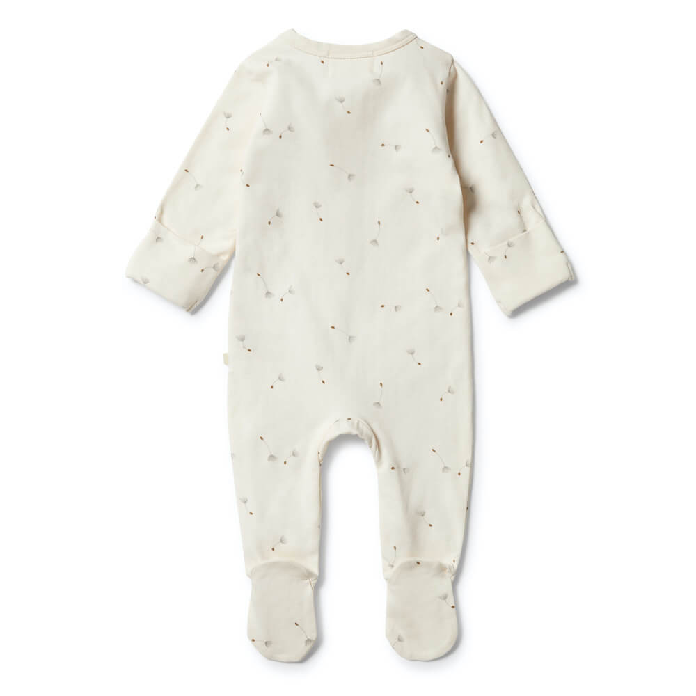 Wilson & Frenchy Organic Zipsuit with Feet Floating Dandelions | Tiny People Australia