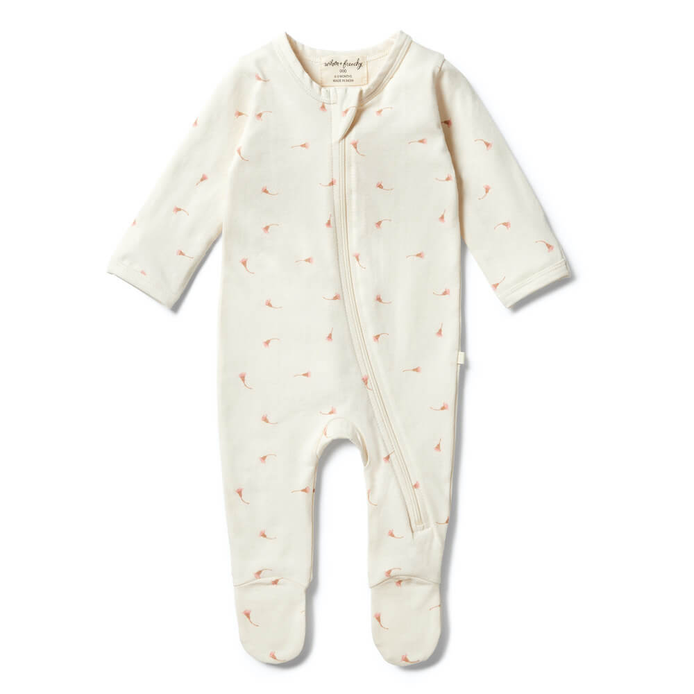 Wilson & Frenchy Organic Zipsuit with Feet Little Blossom | Tiny People Australia