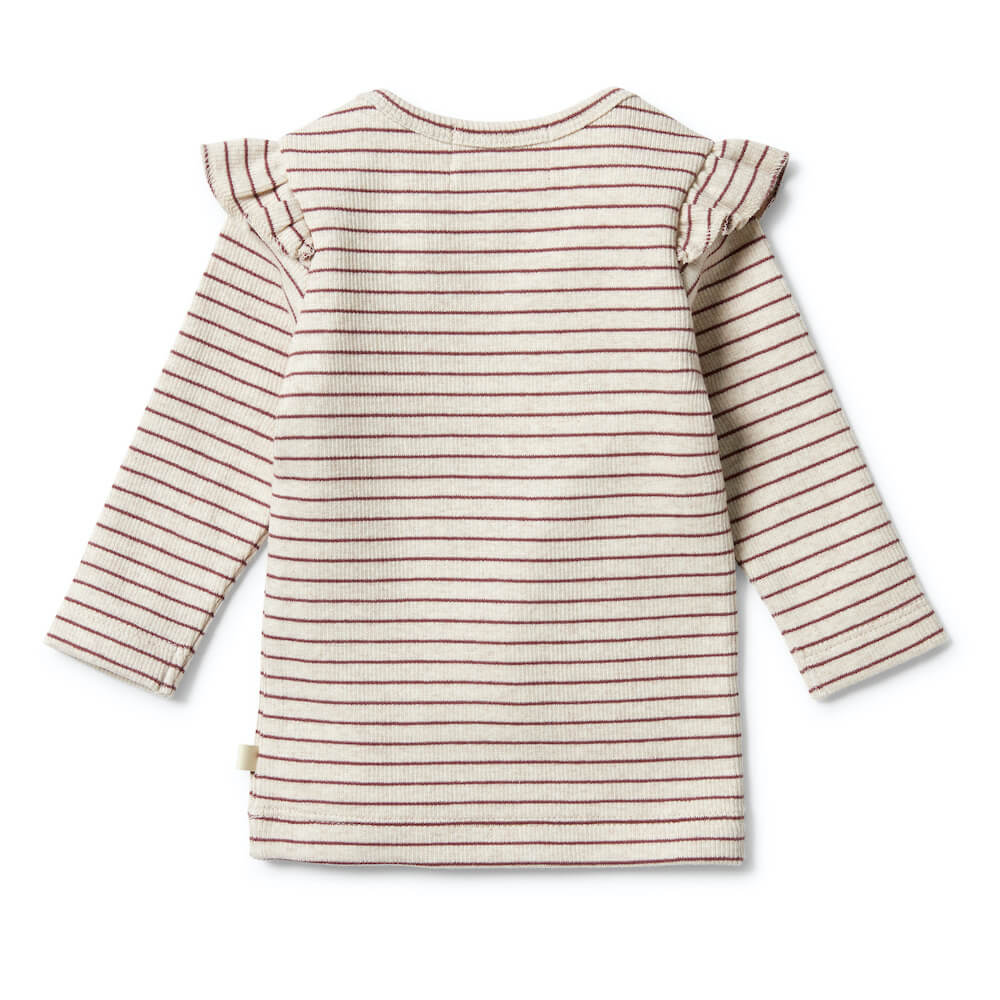 Wilson & Frenchy Organic Stripe Rib Ruffle Top Wild Ginger | Tiny People Australia