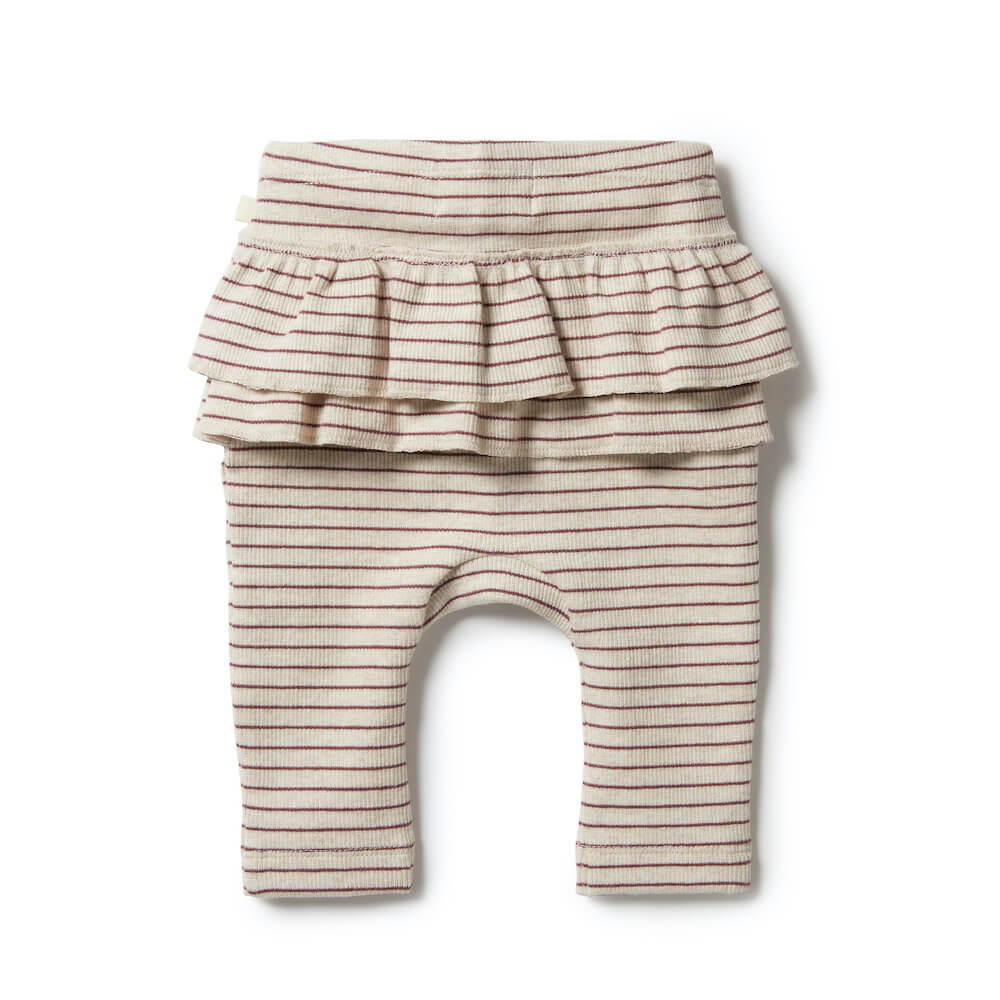 Wilson & Frenchy Organic Stripe Rib Ruffle Leggings Wild Ginger | Tiny People Australia