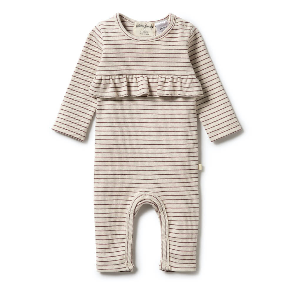 Organic Stripe Rib Ruffle Growsuit Wild Ginger