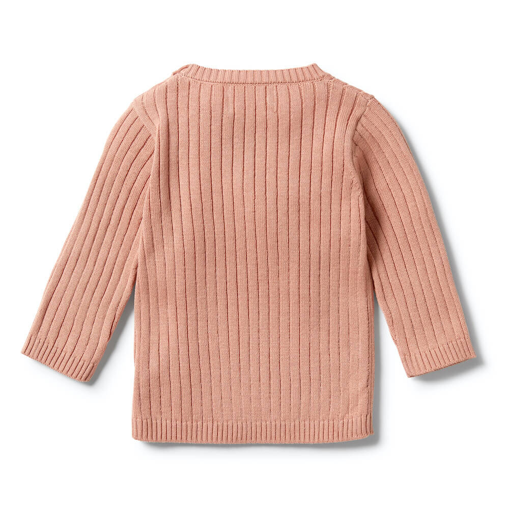 Wilson & Frenchy Knitted Rib Ruffle Top Dusk | Tiny People Australia