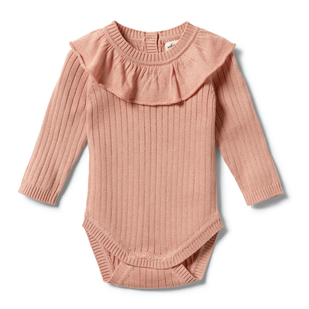 Wilson & Frenchy Knitted Rib Ruffle Bodysuit Dusk | Tiny People Australia