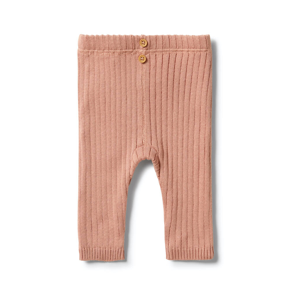 Wilson & Frenchy Knitted Rib Leggings Dusk | Tiny People Australia