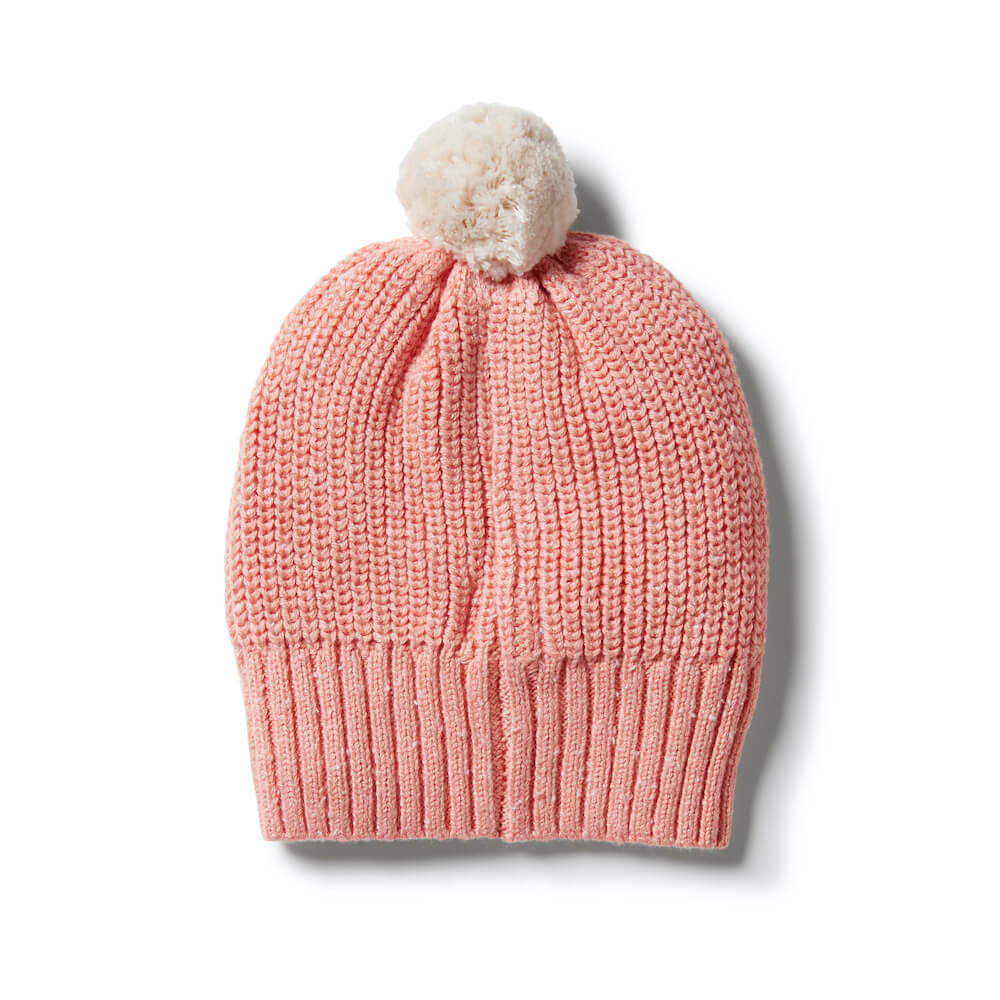 Wilson & Frenchy Knitted Spot Hat Flamingo Fleck | Tiny People Australia