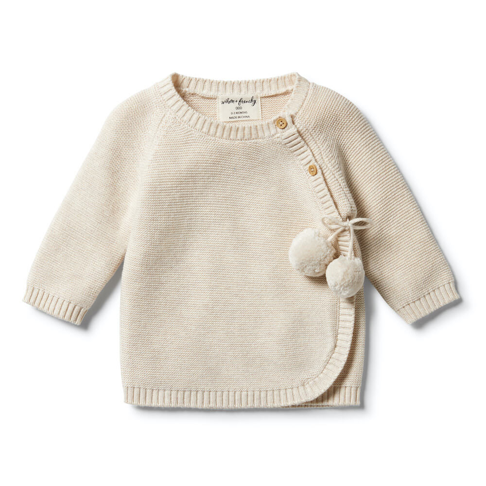 Wilson & Frenchy Knitted Kimono Cardigan Oatmeal Melange | Tiny People Australia