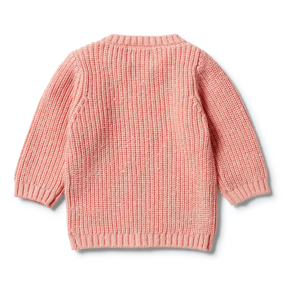 Wilson & Frenchy Knitted Spot Jumper Flamingo Fleck | Tiny People Australia