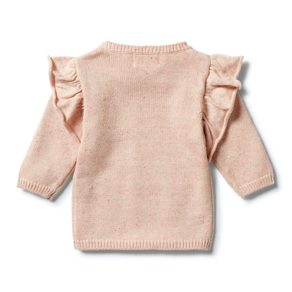 Wilson & Frenchy Knitted Ruffle Jumper Flamingo Oatmeal Fleck | Tiny People Australia