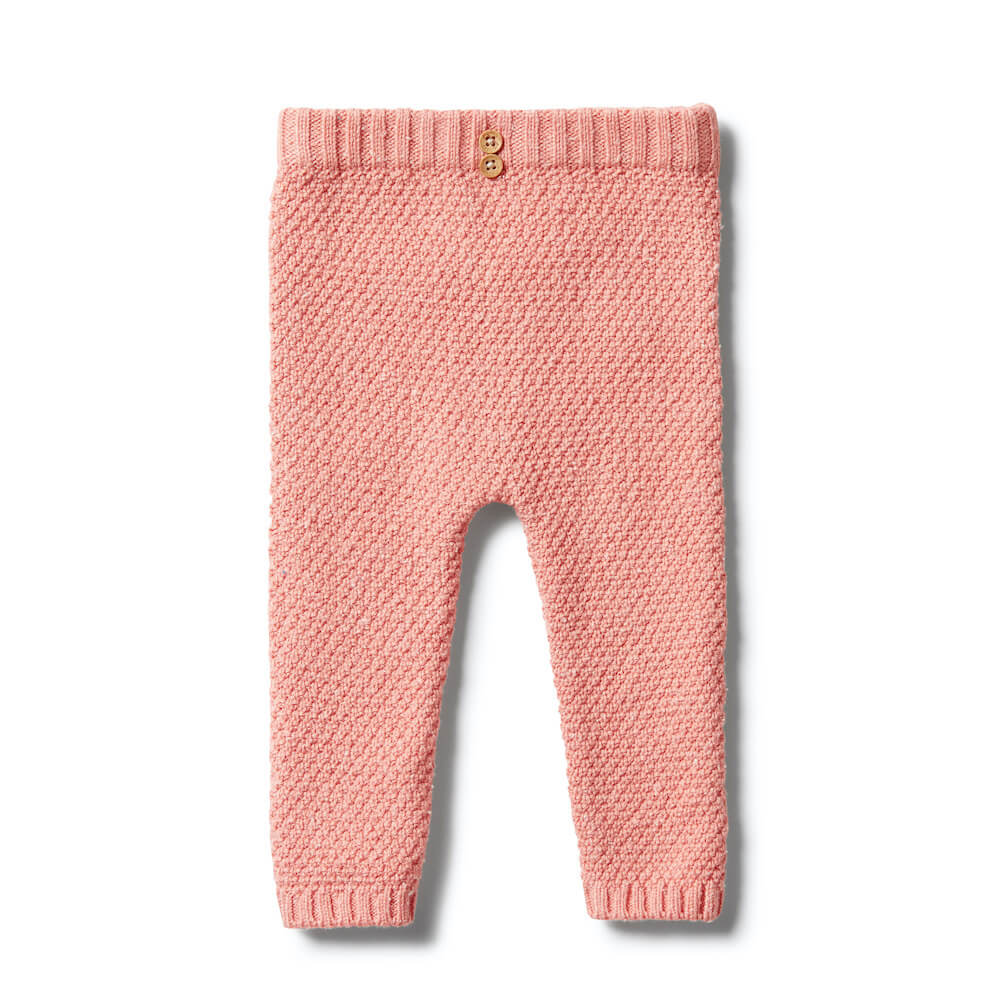 Wilson & Frenchy Knitted Pearl Leggings Flamingo Fleck | Tiny People Australia