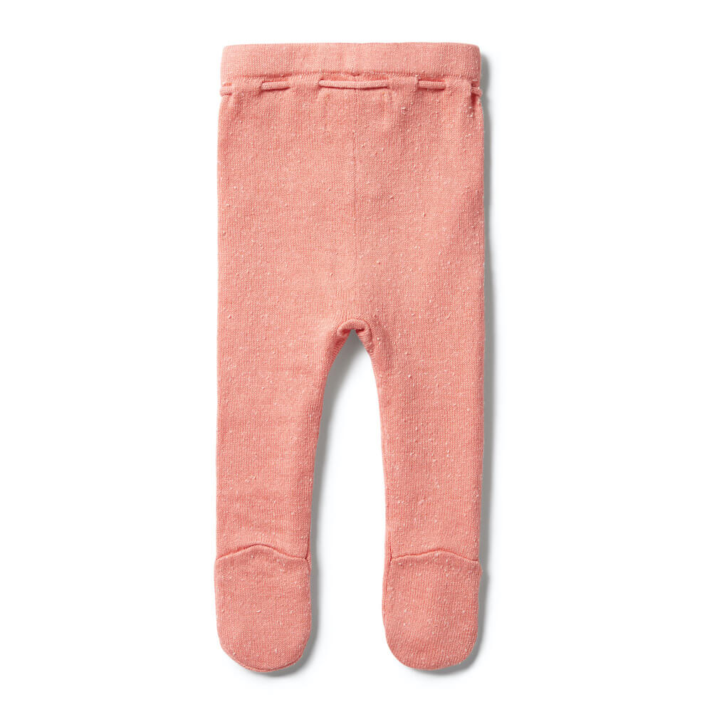 Wilson & Frenchy Knitted Leggings With Feet Flamingo Fleck | Tiny People Australia