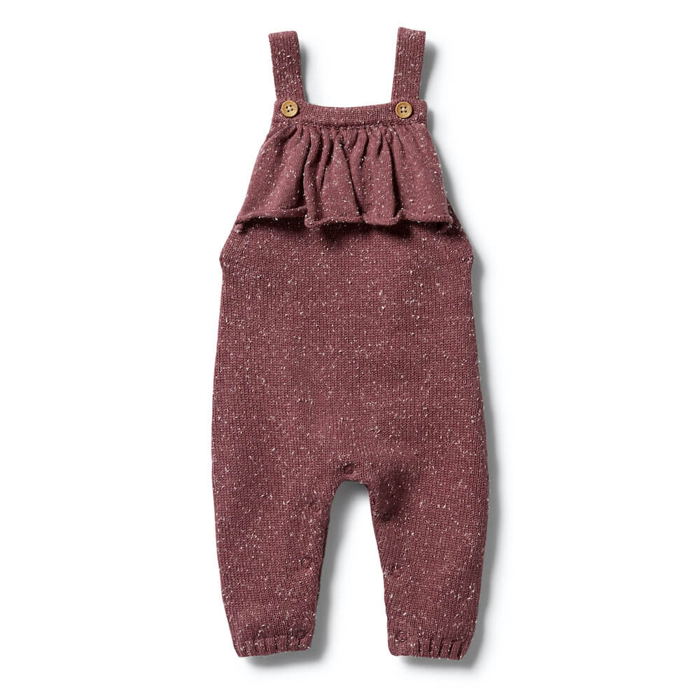 Wilson & Frenchy Knitted Ruffle Overall Wild Ginger Fleck | Tiny People Australia
