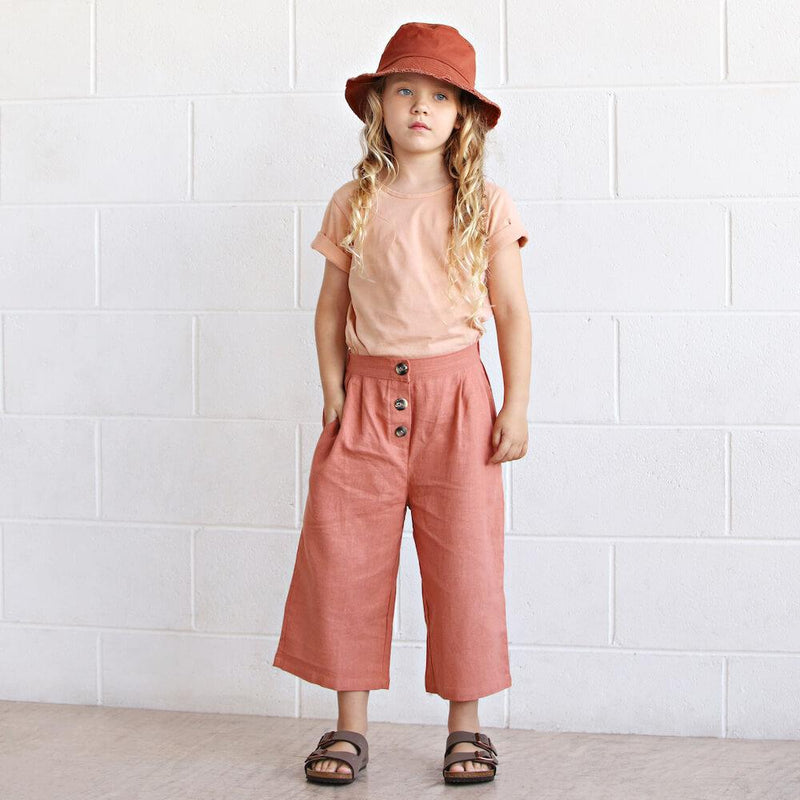 We Roam Culotte Pant Peach | Tiny People