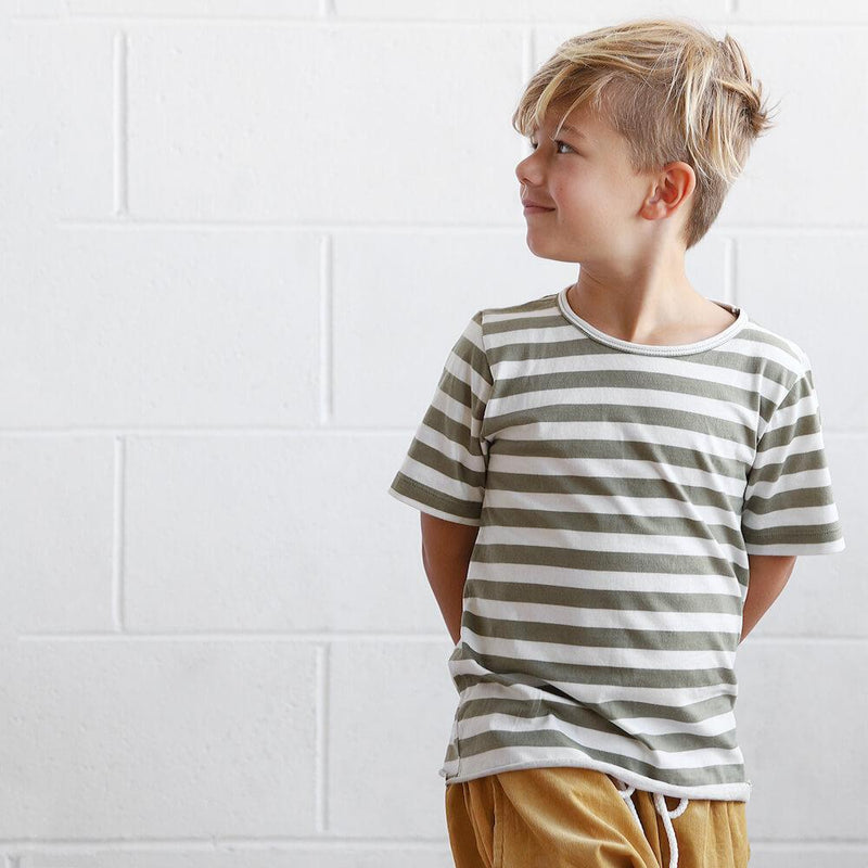 We Roam Olive Stripe Cotton Tee | Tiny People