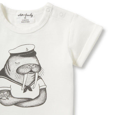 Wilson and Frenchy Walrus Rolled Cuff Tee - Tiny People Cool Kids Clothes Byron Bay