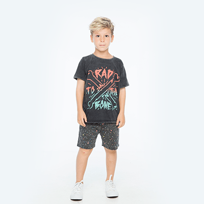 Zuttion Outer Space Boat Short - Soft Black - Tiny People Cool Kids Clothes Byron Bay