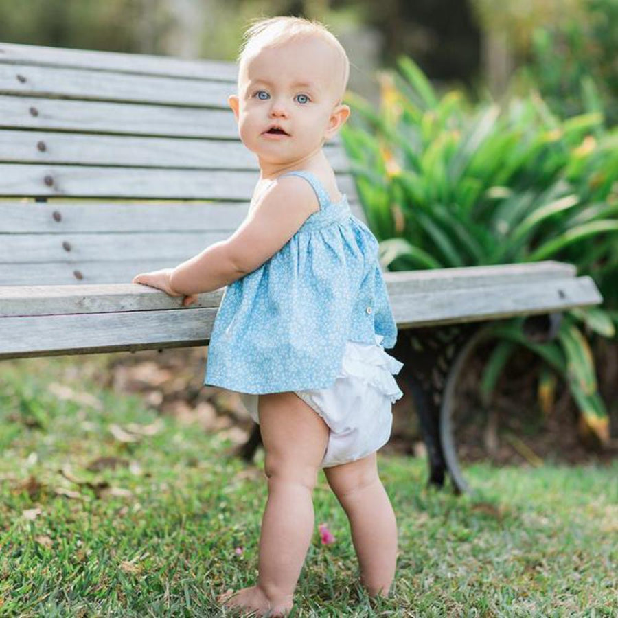 Aubrie Ruffle Bum Bloomers - Plain Voile Marshmallow - Tiny People Cool Kids Clothes Byron Bay