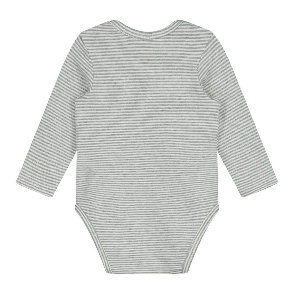 Gray Label L/S Onesie (Grey Melange / Cream Stripe) | Tiny People