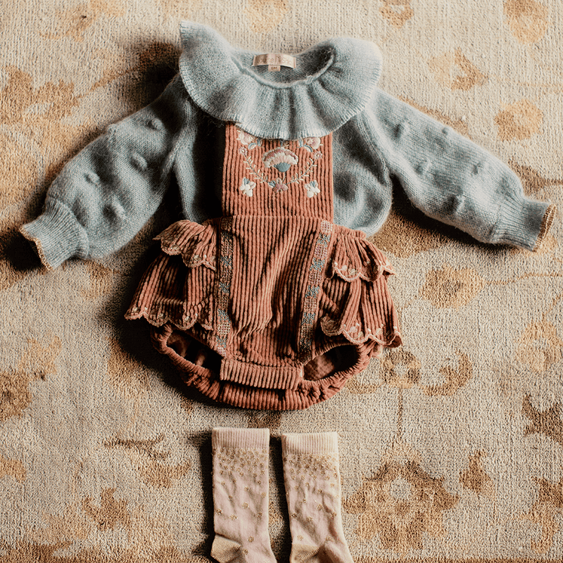 Louise Misha Alessa Romper Terracota Baby Onesies & Rompers - Tiny People Cool Kids Clothes