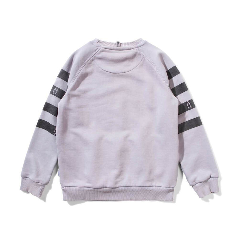 Munster Kids Banded Fleece Crew Grey Jumper - Tiny People Cool Kids Clothes