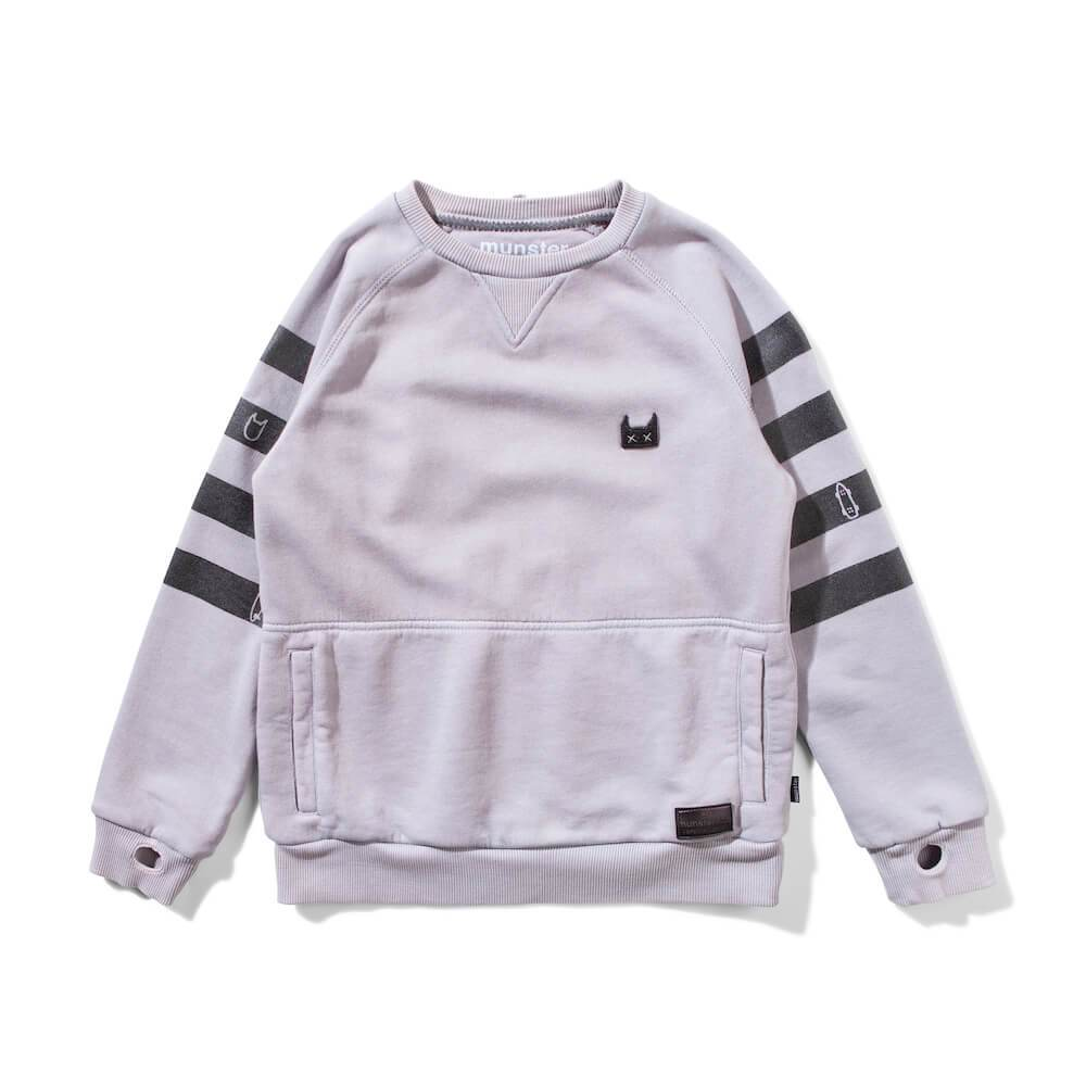 Banded Fleece Crew Grey