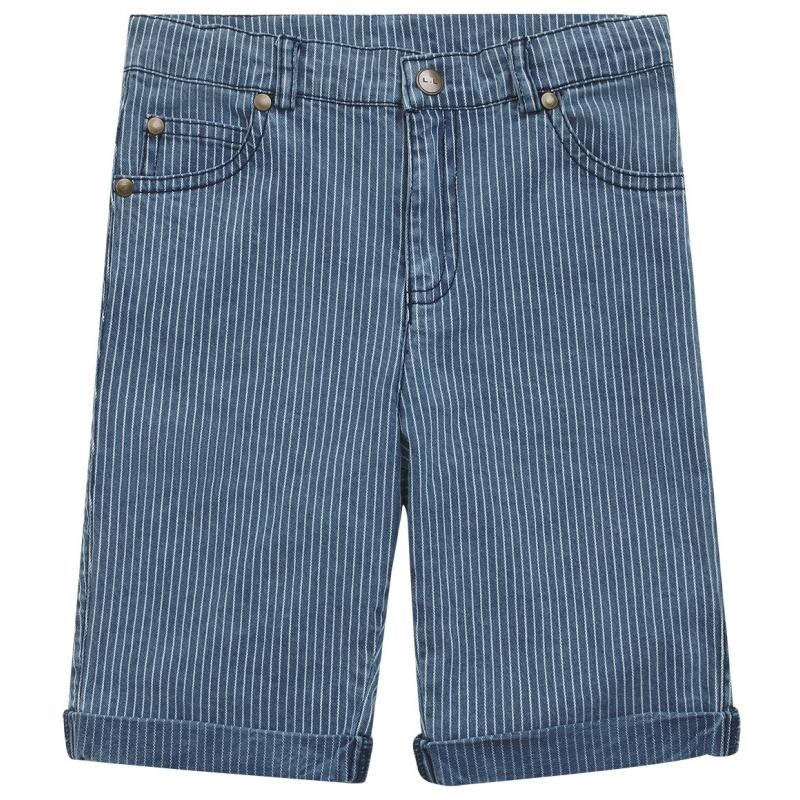 Louis Louise Bermuda Shorts Dean Stripes Denim White & Blue Shorts - Tiny People Cool Kids Clothes