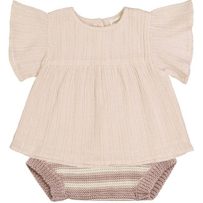 Louis Louise Bloomer Marmotte Knitted Cotton Stripes Pink & Off White Baby Shorts & Bloomers - Tiny People Cool Kids Clothes