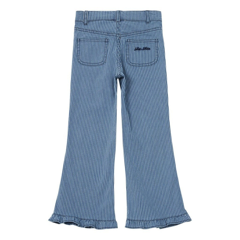 Trousers Chrystal Stripes Denim White & Blue