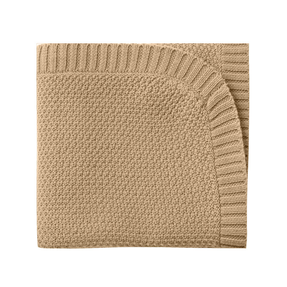Quincy Mae Chunky Knit Baby Blanket Honey | Tiny People