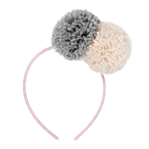 Pom Pom Headband Peach Grey