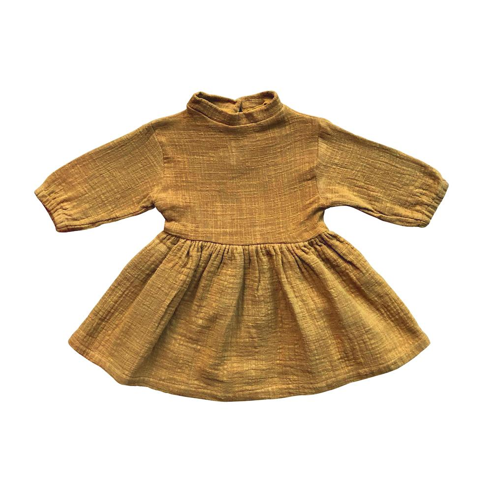 Textured Cotton Dress Mustard