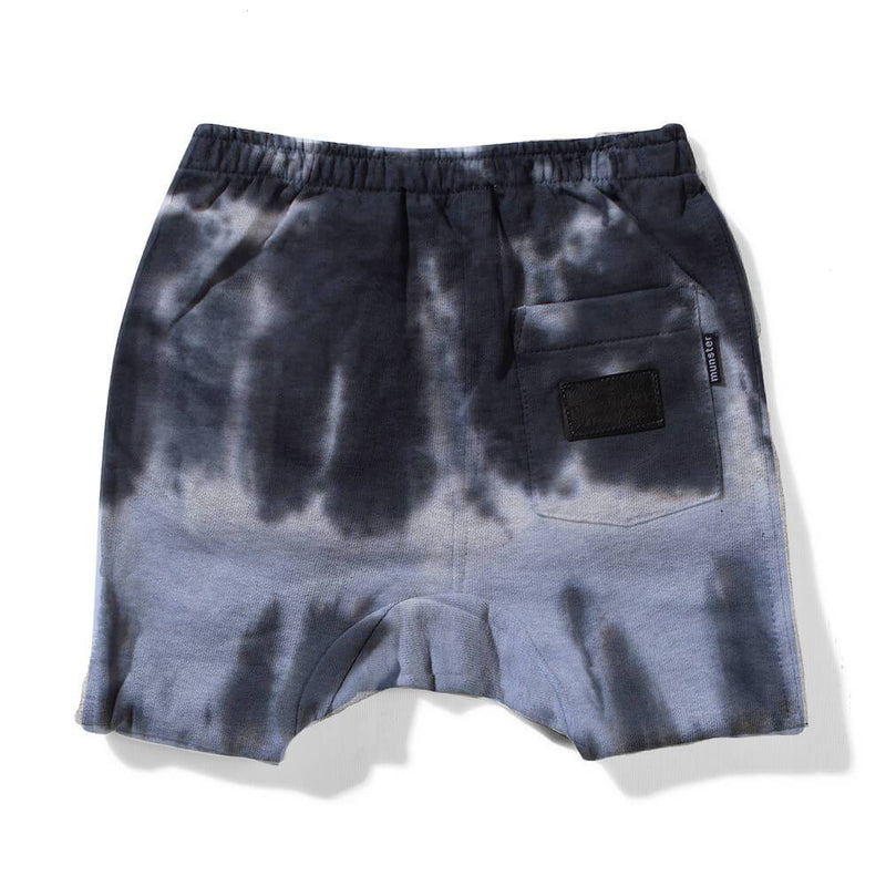 Mini Munster Dunk Blue/Bkl Tie Dye Track Shorts Baby Pants - Tiny People Cool Kids Clothes