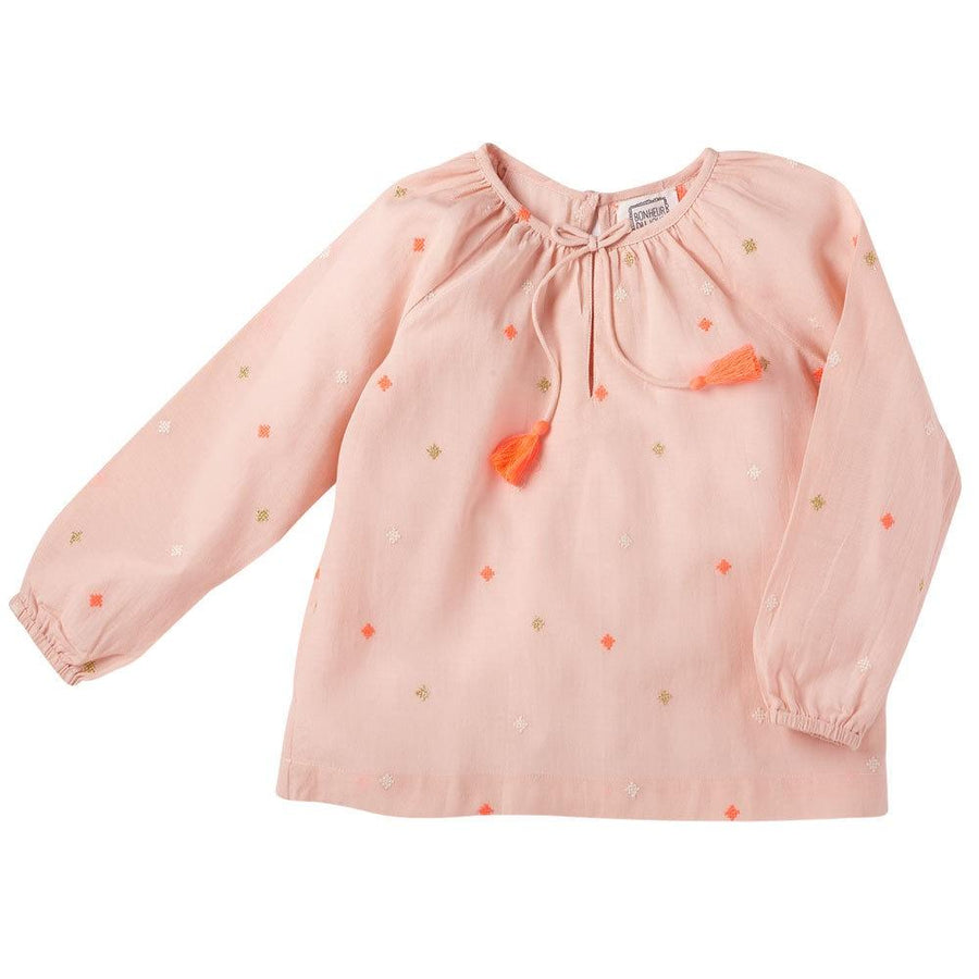 Bonheur Du Jour Pompon Blouse Light Pink - Tiny People Cool Kids Clothes Byron Bay