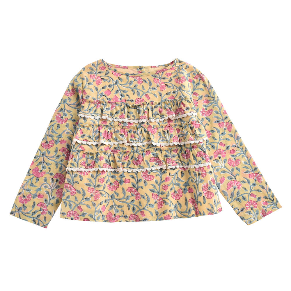 Louise Misha Campeche Blouse Lemon Flowers | Tiny People