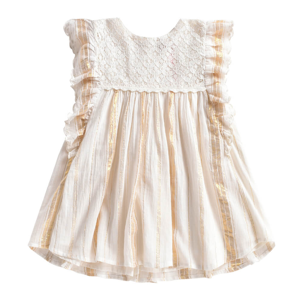 Louise Misha Lyka Dress White & Gold Stripes | Tiny People