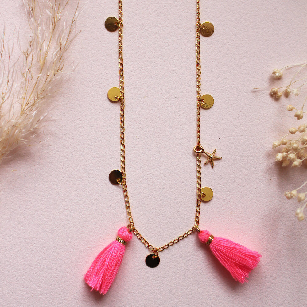 Louise Misha Soledad Necklace Pink Fluro | Tiny People