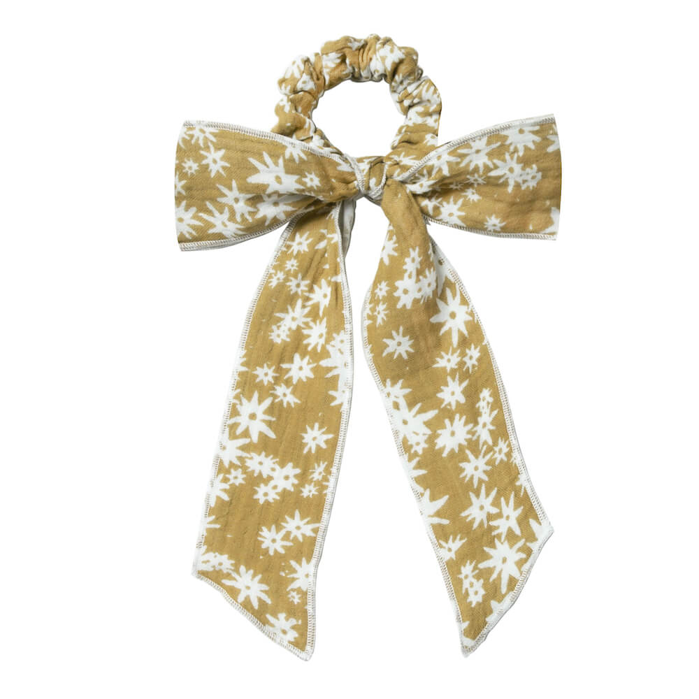 Hair Scarf Tie Scrunchie Scattered Daisy