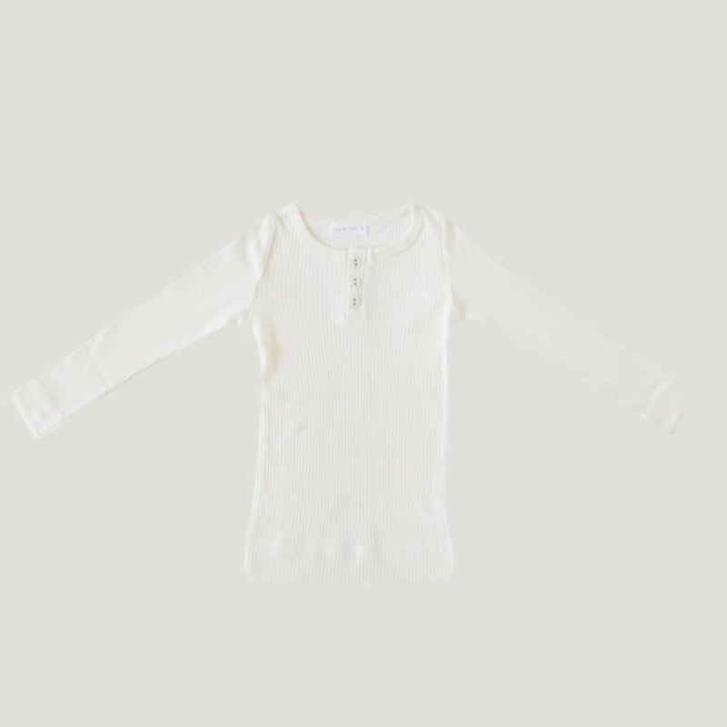 Cotton Modal Henley Top Milk