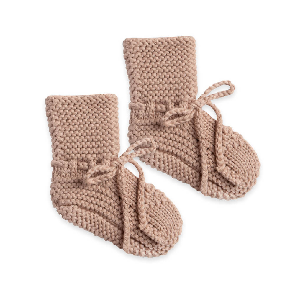 Quincy Mae Knit Booties Petal | Tiny People