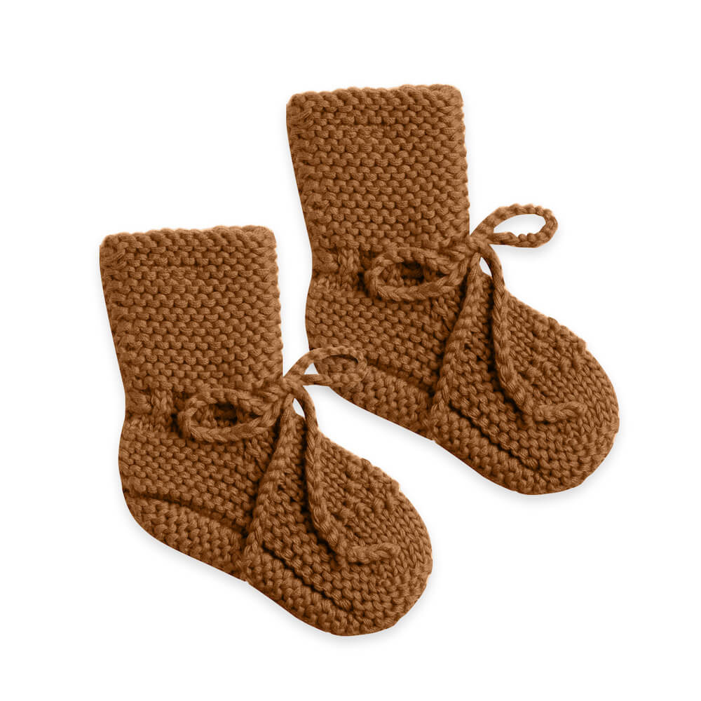Quincy Mae Knit Booties Walnut | Tiny People