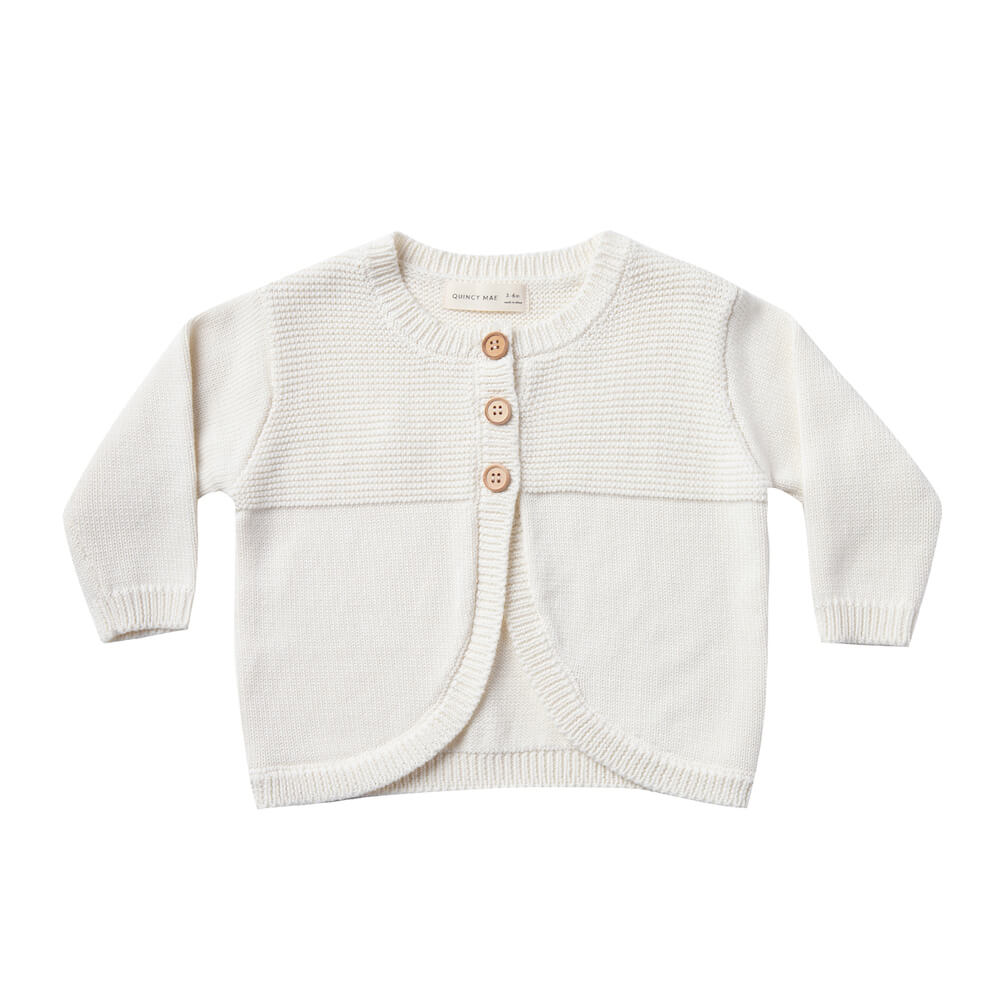 Quincy Mae Knit Cardigan Ivory | Tiny People
