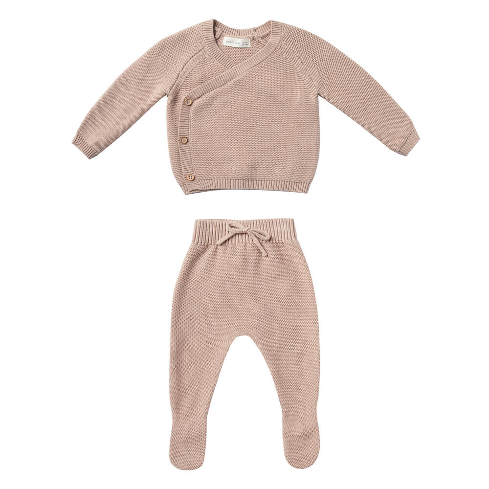 Quincy Mae Knit Kimono Set Petal | Tiny People