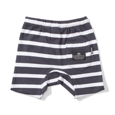 Mini Munster Leaves Blk / Wht Stripe Short - Tiny People Cool Kids Clothes Byron Bay