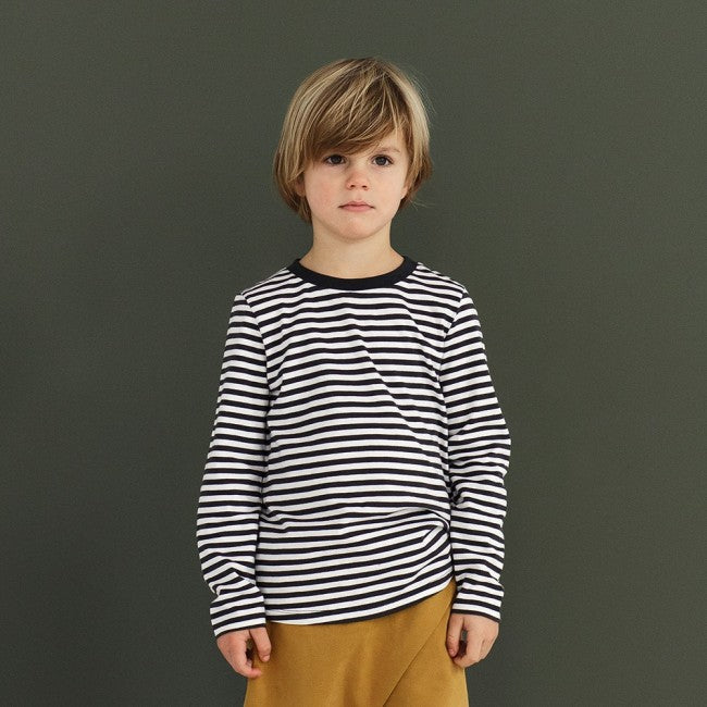 Gray Label Striped L/S Tee (Black/Cream Stripe) | Tiny People