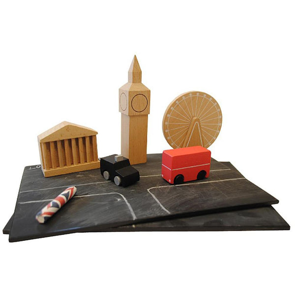 Wooden toys, mini city of London for kids to enjoy.